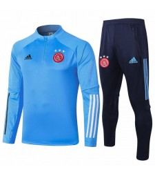 Ajax Kids Light Blue Half Zip Soccer Tracksuit Sportswear 2020-2021