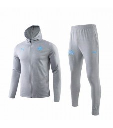 Olympique De Marseille Light Gray Hoodie Soccer Sweatshirt Kit 2019-2020