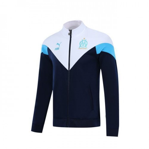 Olympique De Marseille White Dark Blue Jacket 2019 2020