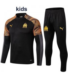 Olympique De Marseille Black Kids Tracksuit Printing Sleeves 2019-2020