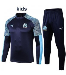 Olympique De Marseille Blue Kids Tracksuit Printing Sleeves 2019-2020
