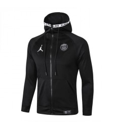 Jordan Paris Saint Germain Long Zip Black Hoodie Jacket 2019-2020