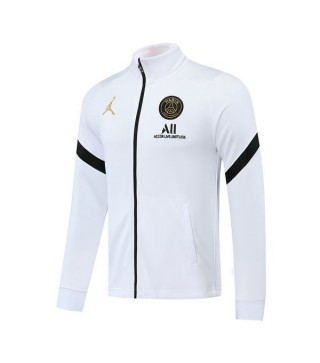 Paris Saint Germain Jordan White Football Player Version Mens Soccer Jacket 2020-2021