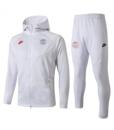 Paris Saint Germain White Hoodie Soccer Jacket 2019-2020