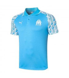 Olympique De Marseille Blue Soccer Jerseys Football Polo 2020-2021