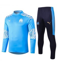 Olympique Marseille Kids Light Blue Half Zip Soccer Tracksuit Sportswear 2020-2021