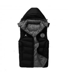 Paris Saint Germain Jordan Padded Vest Black Sleeveless Full Zip Gilet 2020-2021