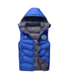 Paris Saint Germain Jordan Padded Vest Blue Sleeveless Full Zip Gilet 2020-2021