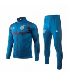 Bayern Munich Blue Gray Jacket Kit Long Zipper 2019-2020