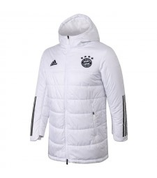 Bayern Munichen Soccer Winter Jacket White Football Cotton Coat 2020-2021
