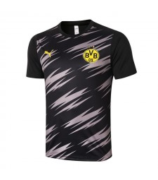 Borussia Dortmund Black Short Sleeve Training Soccer Jerseys Mens Football Shirts Uniforms 2020-2021