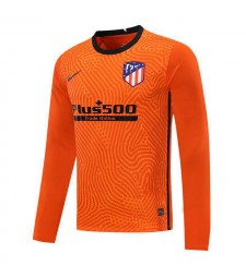 Atletico Madrid Orange Long Sleeve Goalkeeper Soccer Jersey Mens Football Shirt 2020-2021