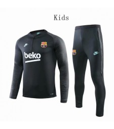 Barcelona Black Kids Tracksuit Black Printing Sleeves 2019-2020
