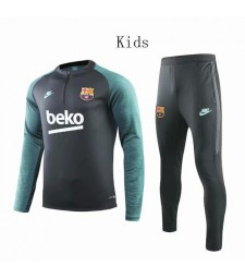Barcelona Black Kids Tracksuit Green Printing Sleeves 2019-2020