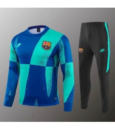 Barcelona Blue Green Round Neck Sweatshirt Tracksuit 2019-2020