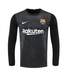 Barcelona Goalkeeper Long Sleeve Black Soccer Jerseys Mens Football Shirts Uniforms 2020-2021