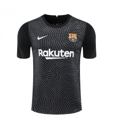 Barcelona Goalkeeper Black Soccer Jerseys Mens Football Shirts Uniforms 2020-2021