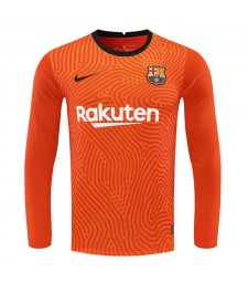 Barcelona Goalkeeper Long Sleeve Orange Soccer Jerseys Mens Football Shirts Uniforms 2020-2021