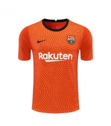 Barcelona Goalkeeper Orange Soccer Jerseys Mens Football Shirts Uniforms 2020-2021