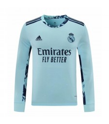 Real Madrid Sky Blue Long Sleeve Goalkeeper Soccer Jersey Football Shirts Uniforms 2020-2021