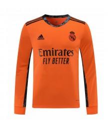 Real Madrid Orange Long Sleeve Goalkeeper Soccer Jersey Football Shirts Uniforms 2020-2021