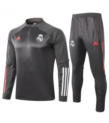 Real Madrid Kids Dark Gray Half Zip Soccer Tracksuit Sportswear 2020-2021