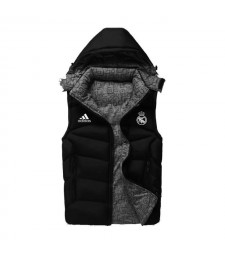 Real Madrid Padded Vest Black Sleeveless Full Zip Gilet 2020-2021