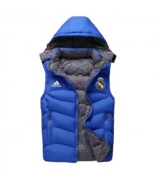 Real Madrid Padded Vest Blue Sleeveless Full Zip Gilet 2020-2021