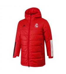 Real Madrid Soccer Winter Jacket Red Football Cotton Coat 2020-2021