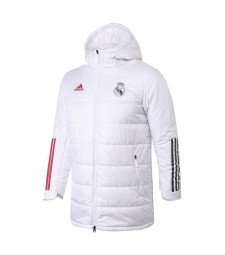Real Madrid Winter Jacket White Cotton Coat 2020-2021