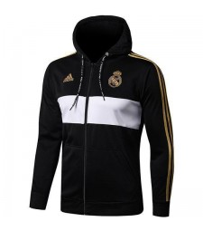 Real Madrid Black White Hoodie Jacket Long Zipper 2019-2020