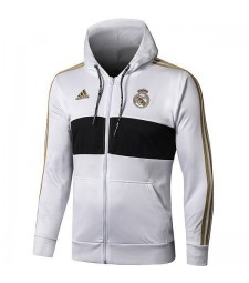 Real Madrid  White Black Hoodie Jacket Long Zipper 2019-2020