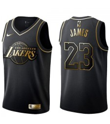 2019 All Star Game Los Angeles Lakers Lebron James 23 Black Gold Basketball Jersey