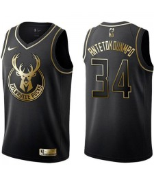 2019 All Star Game NBA milwaukee bucks giannis antetokounmpo 34 black gold basketball jersey