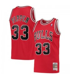 Chicago Bulls Scottie Pippen 33# Mitchell&Ness Red Hardwood Classics Swingman Jersey Red 1995-1996