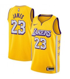 Los Angeles Lakers 23# JAMES City Edition Yellow  Basketball Jersey 2019-2020