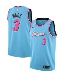 Miami Heat 3# WADE Sky Blue City Edition Basketball Jersey 2019-2020