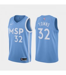 Minnesota Timberwolves Karl Anthony Towns 32# Blue  City Edition Jersey 2019-2020