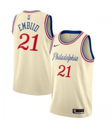 Philadelphia 76ers 21# Joel Embiid  basketball uniform city edition swingman jersey 2019-2020