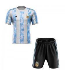 Argentina Home Kids Kit Soccer Children Football- Match Youth Uniforms 2020-2021