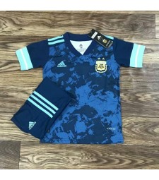 Argentina Away Soccer Jersey Kids Football Kit Youth Uniforms 2020
