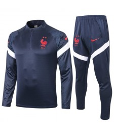 France Kids Royal Blue Half Zip Soccer Tracksuit Sportswear 2020-2021
