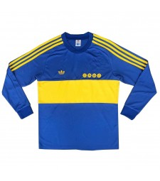 Boca Juniors Long Sleeve Retro Home Soccer Jerseys Mens Football Shirts Uniforms 1981