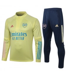 Arsenal Kids Yellow Half Zip Soccer Tracksuit Sportswear 2020-2021