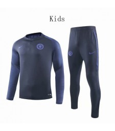Chelsea Dark Blue Printing Sleeves Round Neck Kids Soccer Tracksuit 2019-2020