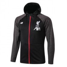Liverpool Long Zip Black Gray Hoodie Jacket 2019-2020