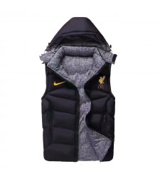 Liverpool Padded Vest Black Sleeveless Full Zip Gilet 2020-2021