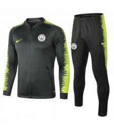 Manchester City Dark Green Printed Sleeve Tracksuit 2018/2019