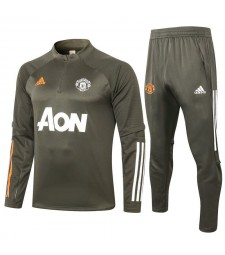 Manchester United Army Green Half Zip Mens Training Soccer Tracksuit 2020-2021