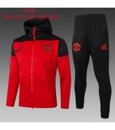 Manchester United  Kids Red Black Soccer Hoodie Jacket Football Tracksuit 2021-2022